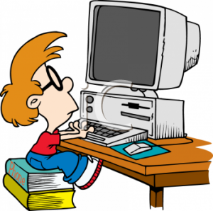 0511-1111-0813-0133_Little_Nerd_Boy_Sitting_on_Phone_Books_so_He_Can_Work_at_a_PC_Computer_clipart_image